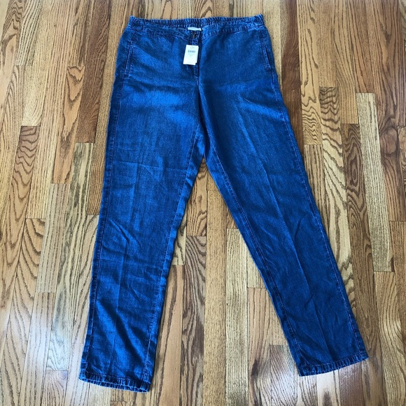 New Womens Blue Tencel Linen NEXT Crop Trousers Size 8 6 Petite RRP £30